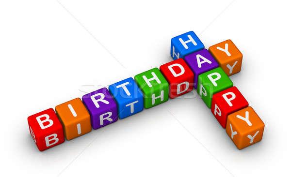 Feliz cumpleaños signo colorido feliz educación azul Foto stock © almagami