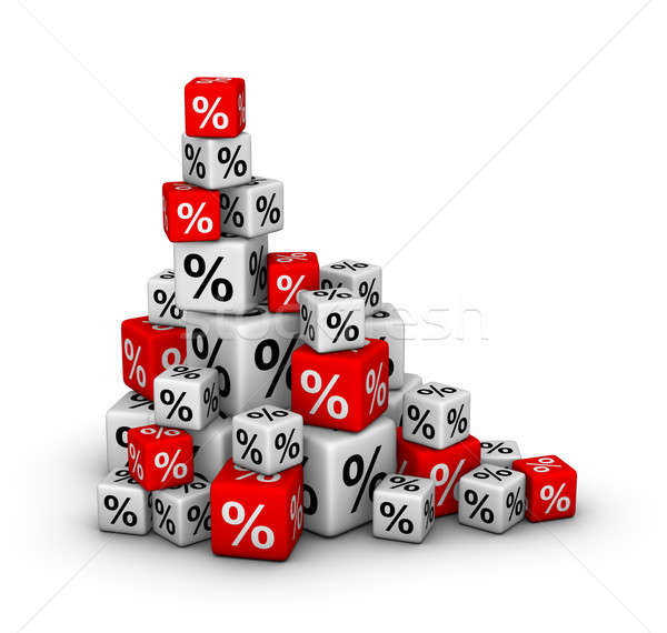 Stack of boxes with percent sign Stock photo © almagami