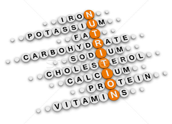 Táplálkozás tények keresztrejtvény étel fitnessz információ Stock fotó © almagami