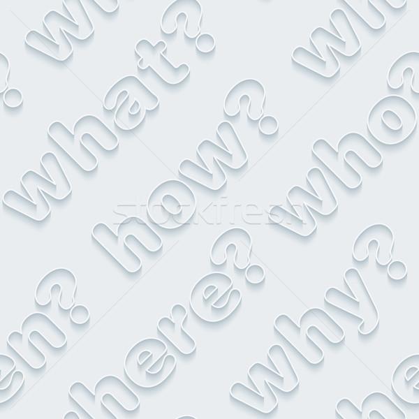 Pergunta palavras 3D sem costura vetor eps10 Foto stock © almagami