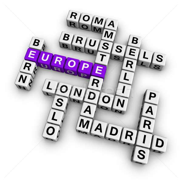 Photo stock: Mots · croisés · Europe · cubes · ville · Voyage · nuage