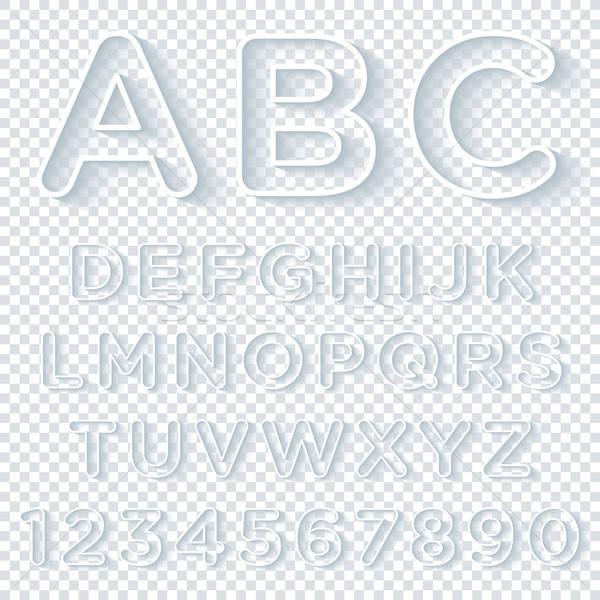 Сток-фото: алфавит · набор · тень · прозрачный · вектора