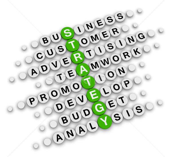 Stratégie d'entreprise mots croisés séance puzzle affaires vert Photo stock © almagami