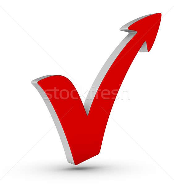 Red check mark with arrow Stock photo © almagami