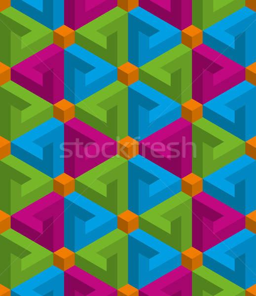 Izometryczny 3D złudzenie optyczne tekstury Zdjęcia stock © almagami