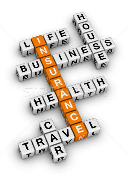 Stock fotó: Biztosítás · keresztrejtvény · kockák · puzzle · üzlet · család