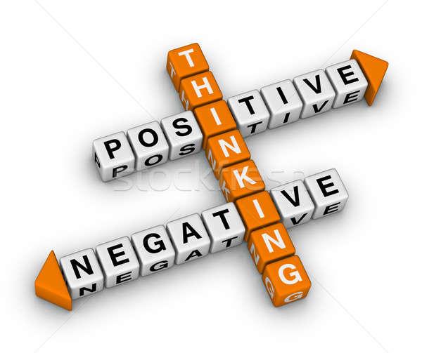 Foto stock: Positivo · negativo · pensando · palavras · cruzadas · negócio · assinar