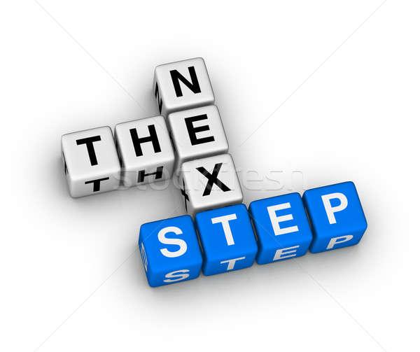 Stock fotó: Lépés · keresztrejtvény · puzzle · doboz · kék · jövő