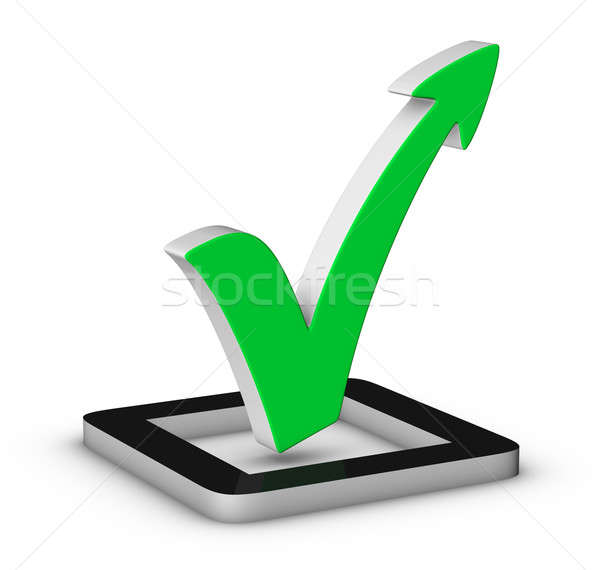 Stock photo: Green check mark with arrow