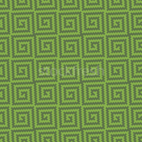 Greenery Meander Pixel Art Seamless Pattern. Stock photo © almagami
