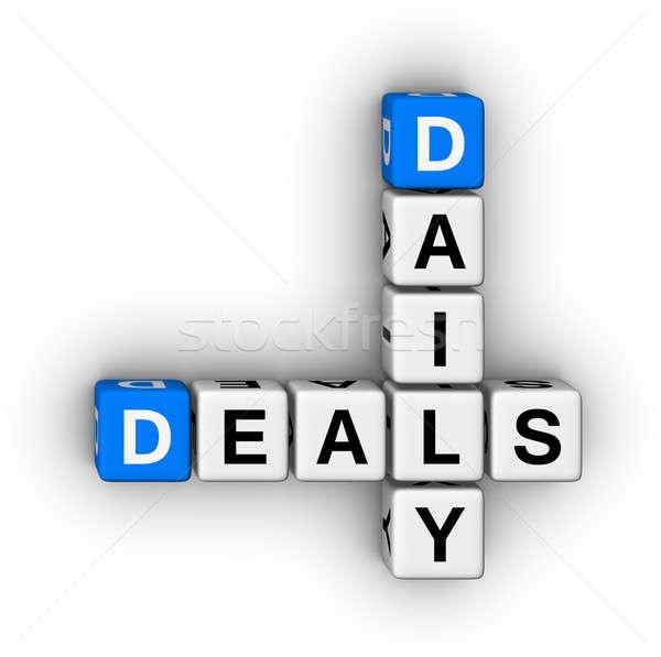 Minden nap akciók keresztrejtvény puzzle szimbólum vásárlás Stock fotó © almagami