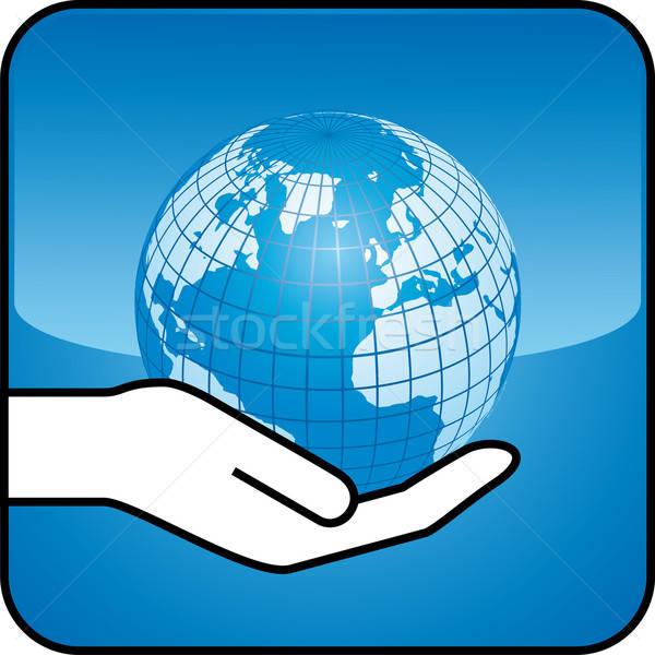 hand and globe Stock photo © almagami