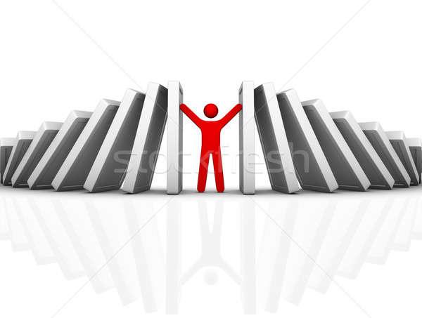 Dominó efecto empresario ayudar rojo Foto stock © almagami