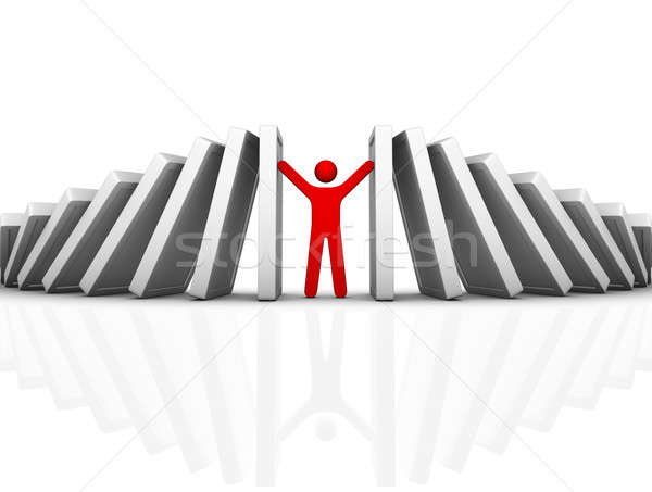 Domino effect zakenman helpen Rood Stockfoto © almagami