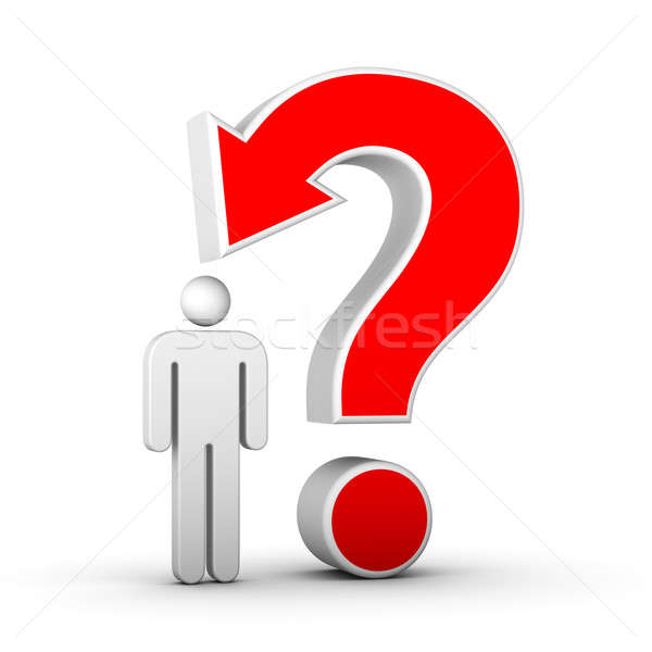 question mark with arrow and man Stock photo © almagami