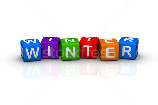 Tél divatszó kockák naptár zöld kék Stock fotó © almagami