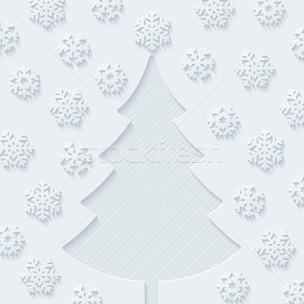 ストックフォト: クリスマスツリー · 雪 · ベクトル · eps10 · 紙 · ツリー