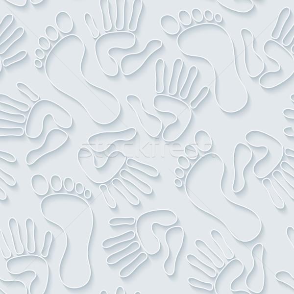 Handprints & footprints 3d seamless wallpaper. Stock photo © almagami