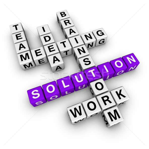 Photo stock: Solution · mots · croisés · cubes · affaires · signe · entreprise