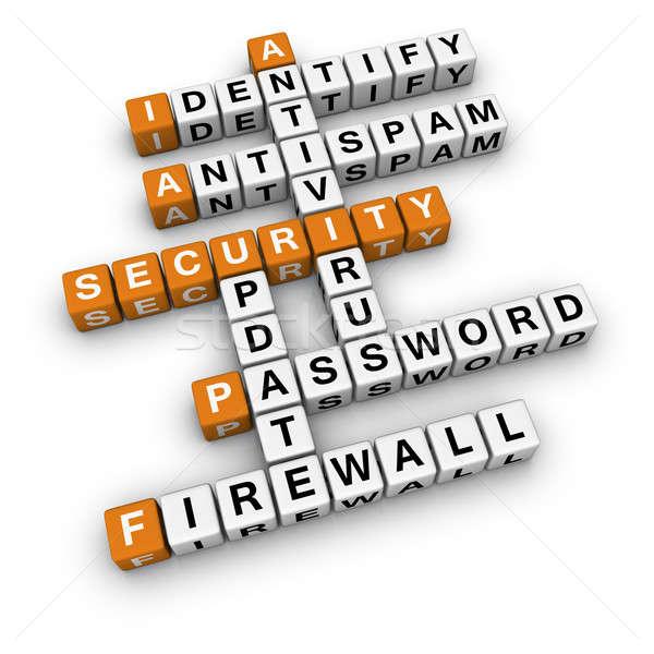 Ordinateur sécurité 3D mots croisés orange réseau Photo stock © almagami