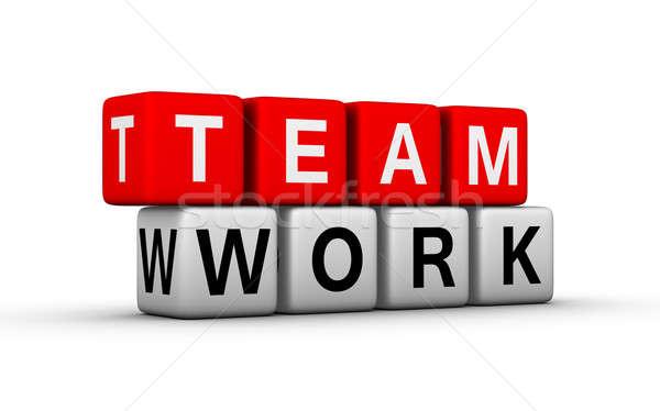 Trabajo en equipo grupo carta rojo empresa blanco Foto stock © almagami