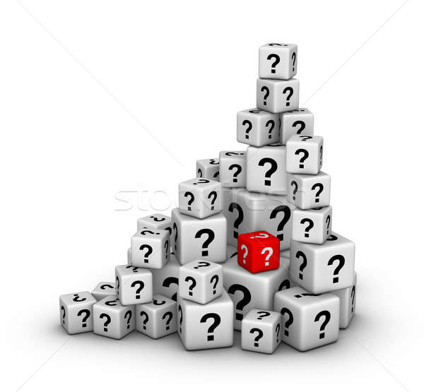 pile of dices with question marks Stock photo © almagami