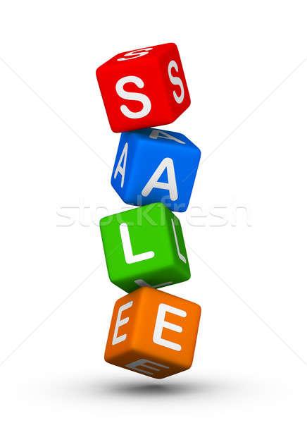 Stock foto: Verkauf · Zeichen · farbenreich · Würfel · grünen · rot