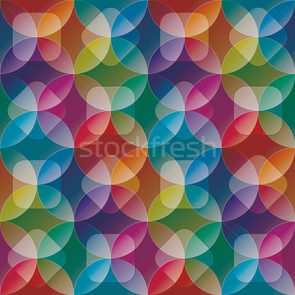 Overlap and transparent circles and squares. Colorful seamless b Stock photo © almagami