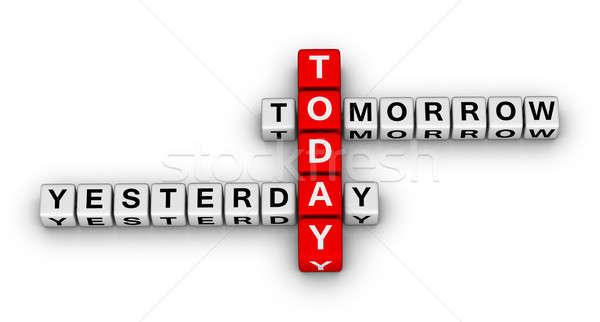Ontem hoje amanhã 3D palavras cruzadas quebra-cabeça Foto stock © almagami