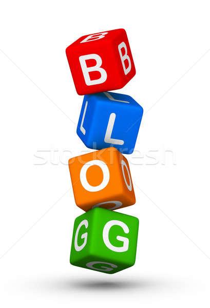 Blog függőleges szimbólum hírek hálózat háló Stock fotó © almagami