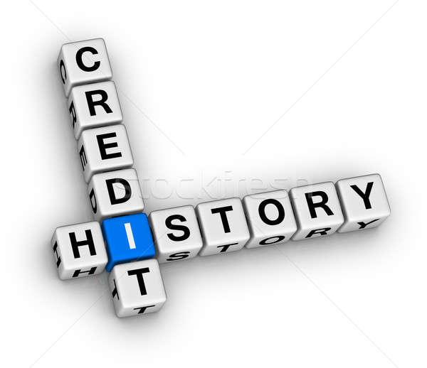 Krediet geschiedenis 3D kruiswoordraadsel puzzel geld Stockfoto © almagami
