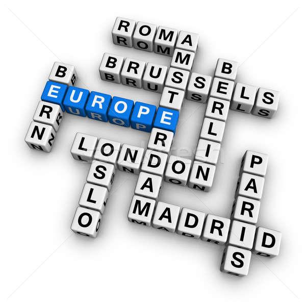 Kruiswoordraadsel Europa witte vakantie kubus Stockfoto © almagami