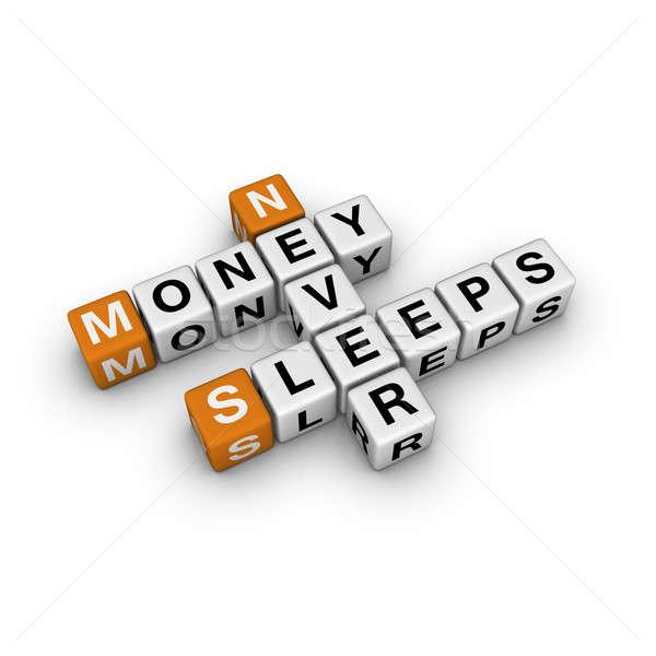 Geld nooit slaap 3D kruiswoordraadsel oranje Stockfoto © almagami