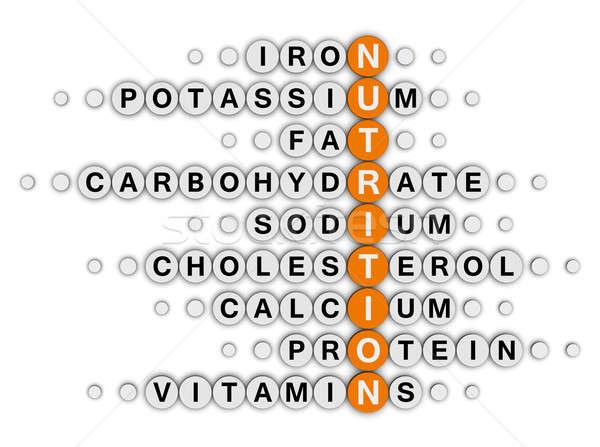 Nutrição fatos palavras cruzadas quebra-cabeça comida fitness Foto stock © almagami