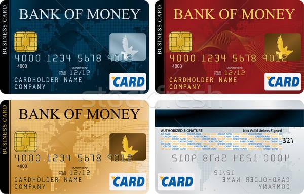 Creditcards vector ingesteld kaart ontwerp Blauw Stockfoto © almagami