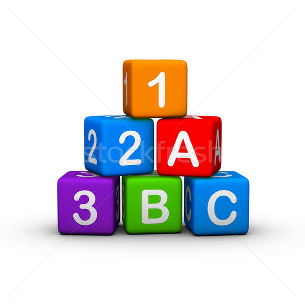 építőkockák oktatási levelek számok narancs felirat Stock fotó © almagami