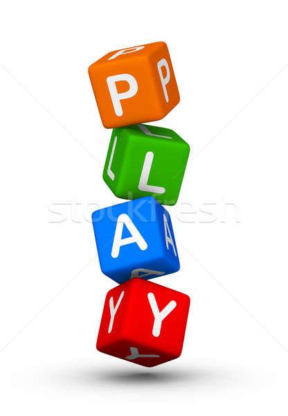 Stock foto: Spielen · Symbol · farbenreich · unter · Würfel · Baby