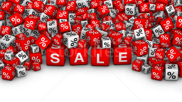 A heap of cubes with SALE word and percent symbol. Stock photo © almagami