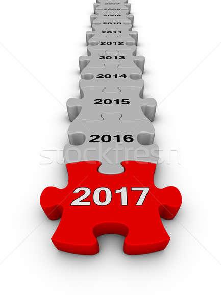 Boldog új évet 2016 kirakós játék idővonal 3d illusztráció üzlet Stock fotó © almagami