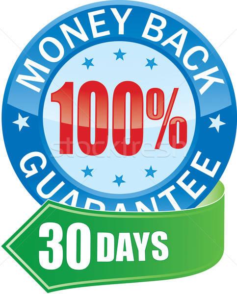 деньги назад гарантировать значок синий Сток-фото © almagami
