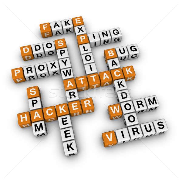 хакер атаковать 3D кроссворд оранжевый сервер Сток-фото © almagami
