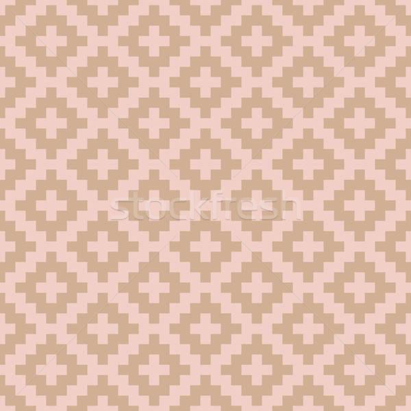 Stock photo: Squares Pixel Art Seamless Pattern.