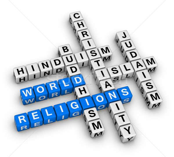 Dünya hristiyanlık İslamiyet yahudilik budizm hinduizm Stok fotoğraf © almagami