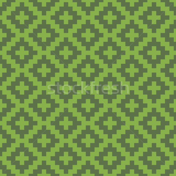 Squares Pixel Art Seamless Greenery Pattern. Stock photo © almagami