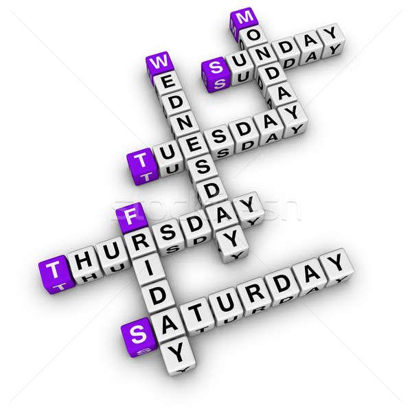 Keresztrejtvény kockák doboz naptár idő puzzle Stock fotó © almagami
