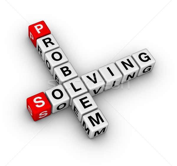Problémamegoldás keresztrejtvény terv levél piros támogatás Stock fotó © almagami