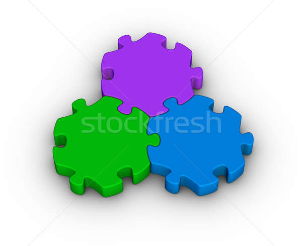 three jigsaw pieces Stock photo © almagami