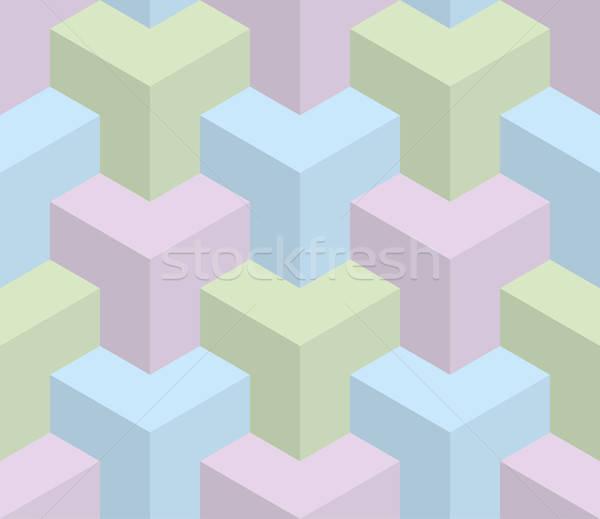 Izometryczny 3D złudzenie optyczne pastel tekstury Zdjęcia stock © almagami