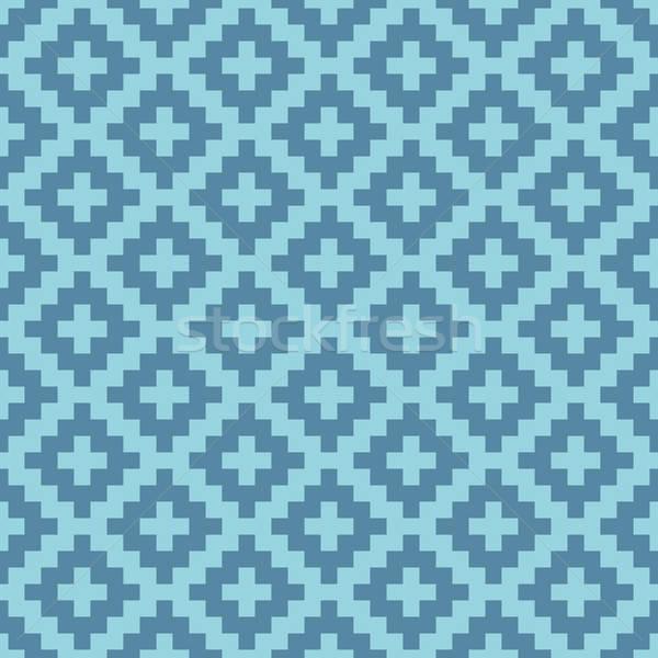 Squares Pixel Art Seamless Pattern. Stock photo © almagami