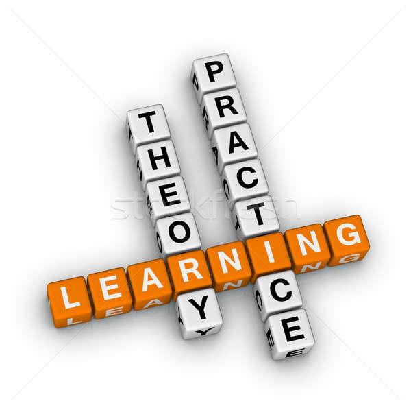 Leren theorie praktijk kruiswoordraadsel puzzel onderwijs Stockfoto © almagami